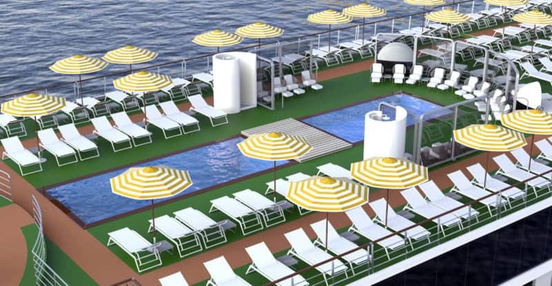 Die beiden Pools auf dem neuen A-Rosa Flussschiff