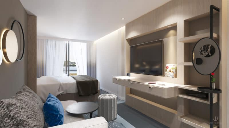 Elegant und großzügig: Als wahrer City Cruiser verbindet der A-Rosa Neubau die Vorzüge eines Design Hotels mit denen einer Kreuzfahrt. (Foto A-Rosa)
